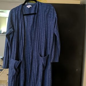 Lularoe Sarah Long Cardigan Blue Sz XL Ribbed